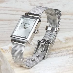Personalised Silver Personalised Ladies Watch With Detailed Strap - STGCL366