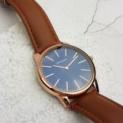Rose Gold Watch with blue dial